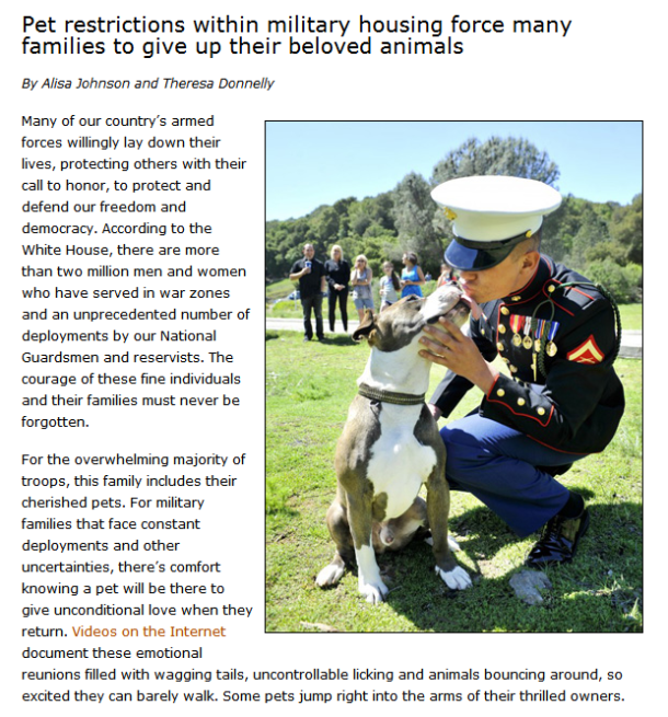 Military Pet Policies Tear Families Apart - StubbyDog
