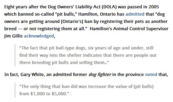 pit bull law in ontario essay Summary of the law banning pit bulls in ontario province, 2005 note: ontario is the most populous province of canada, includes the city of toronto and.
